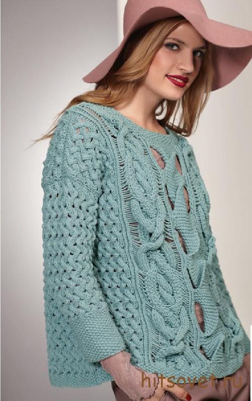 Вязание пуловера с дырчатым узором, фото 2.