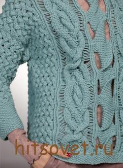 Женсий вязаный пуловер с дырчатым узором, фото 3.