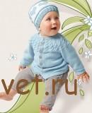Вязание спицами для малышей жакет и шапочка