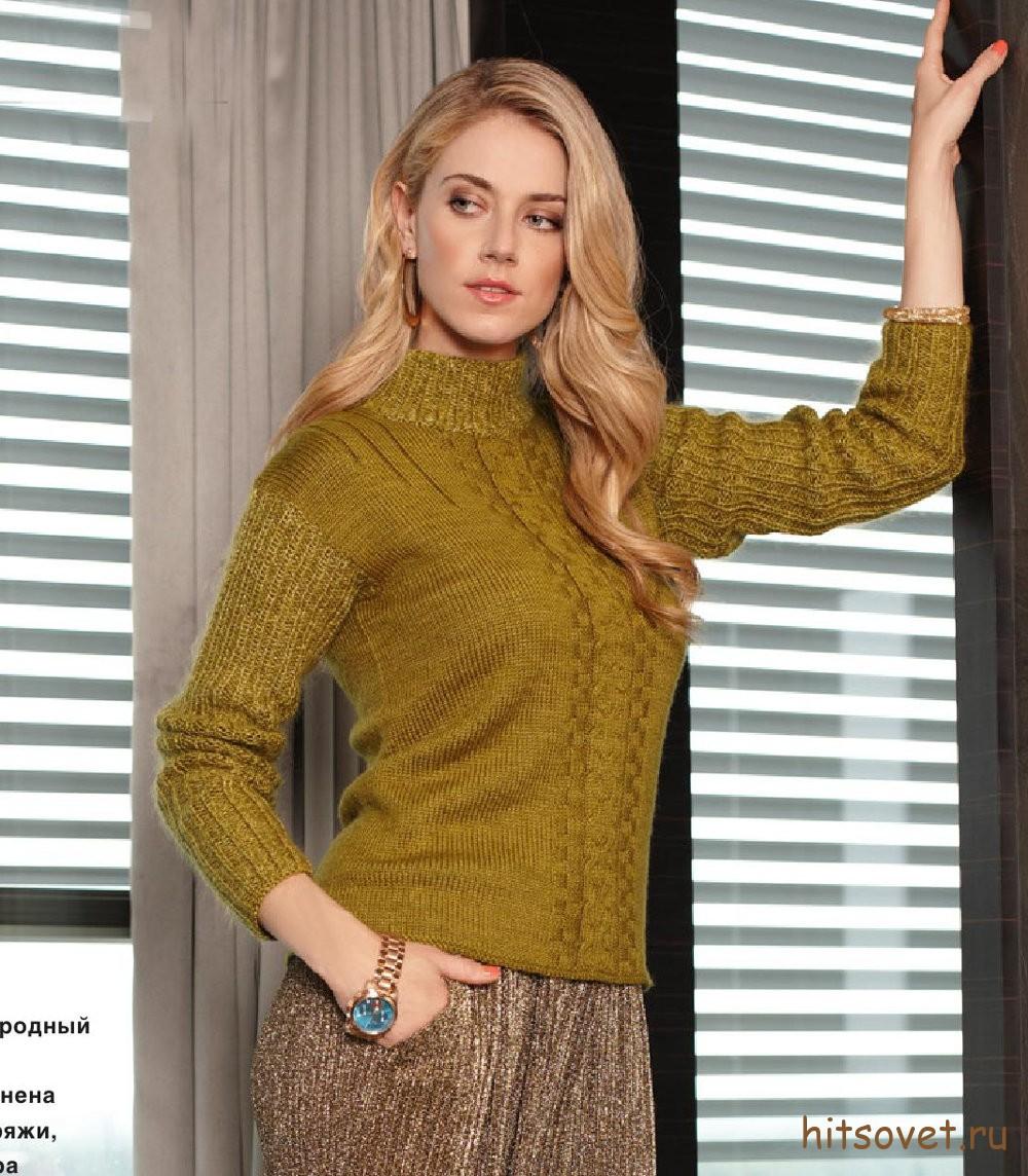 Женский вязаный свитер спицами, фото.