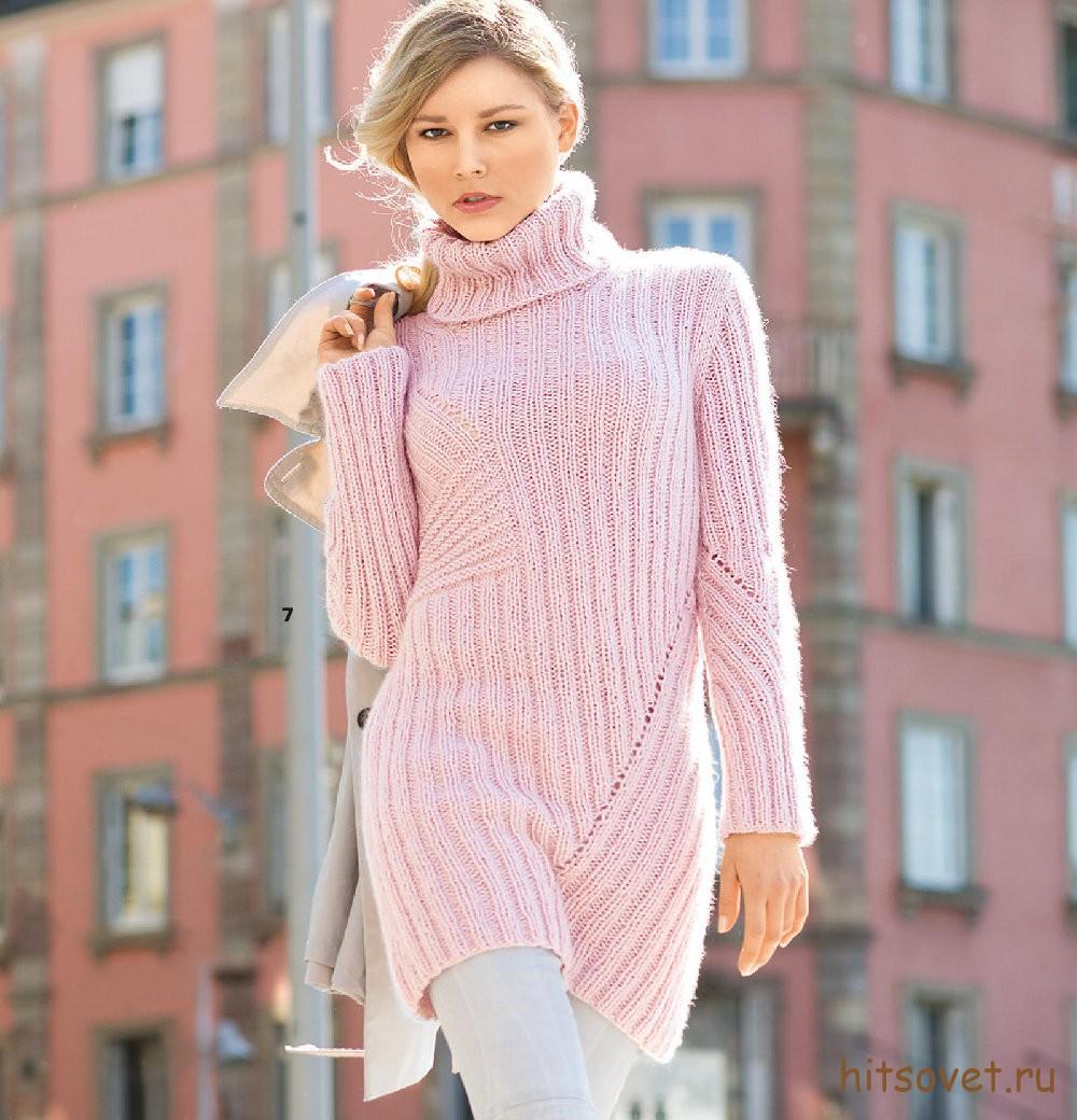 Молодежный свитер спицами