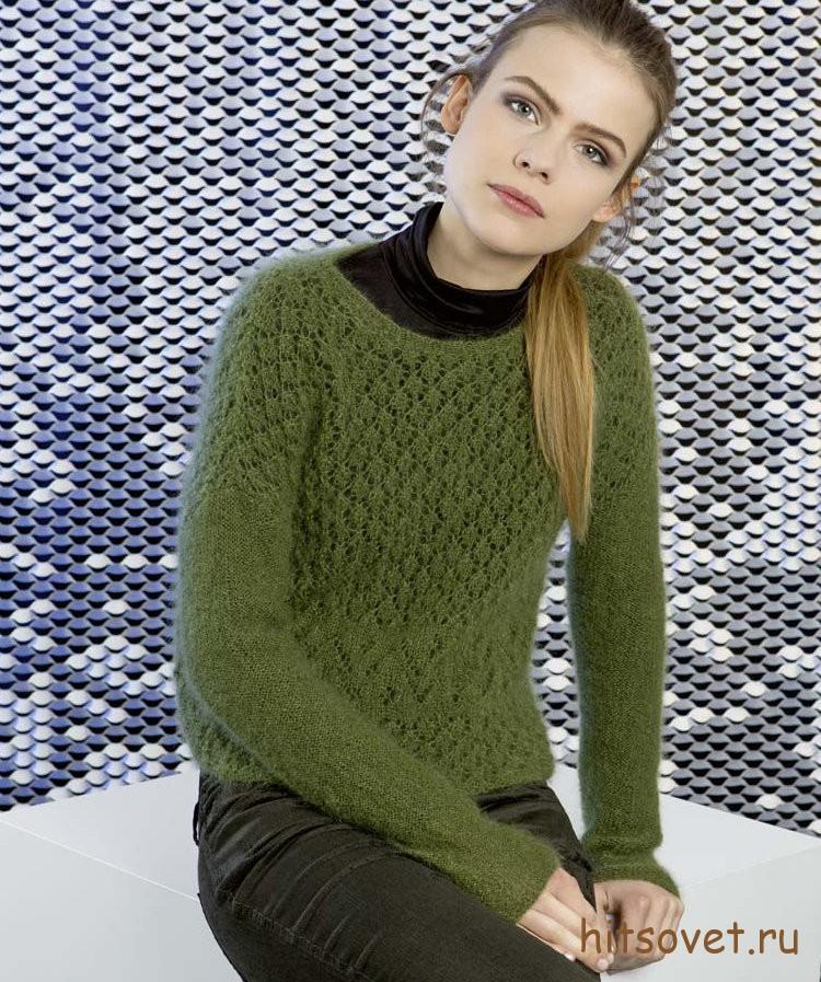 Мохеровый пуловер спицами молодежный
