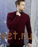 Мужской пуловер спицами бордового цвета