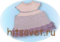 Вязаное платье для девочки с волнистой каймой рис.2