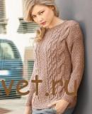 Пуловер спицами женский с косами
