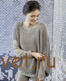 Пуловер спицами женский с короткими рукавами, фото 1.