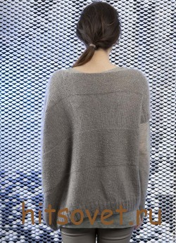 Пуловер спицами женский с короткими рукавами, фото 2.