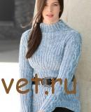Пуловер женский спицами с косами и резинкой