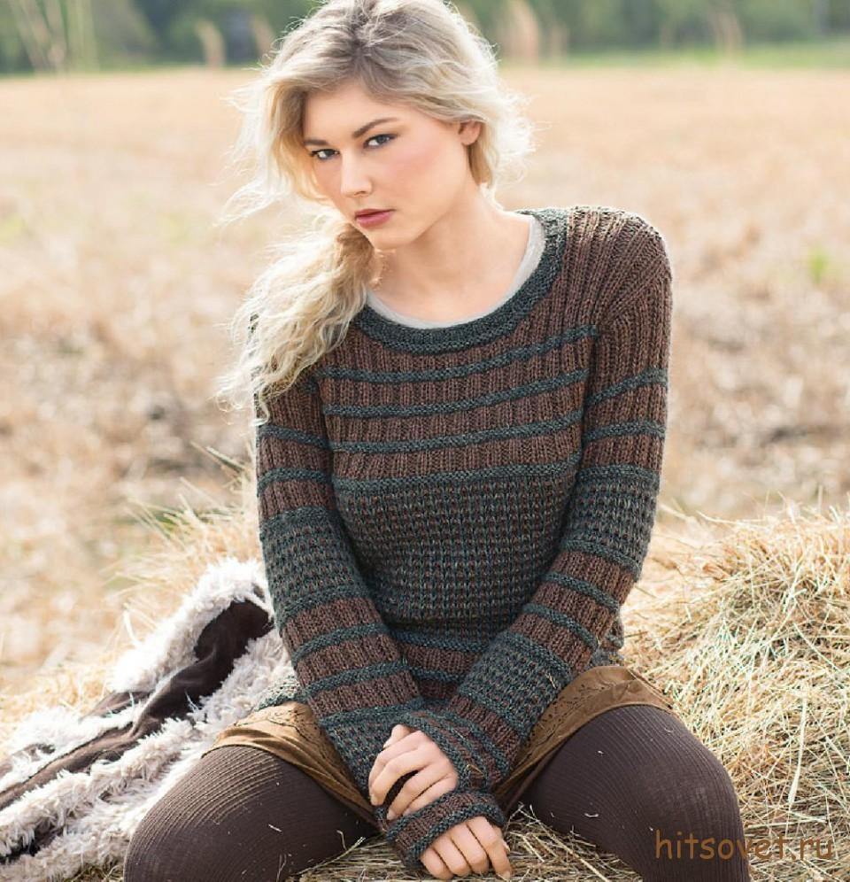 Пуловер женский 2015 двухцветный