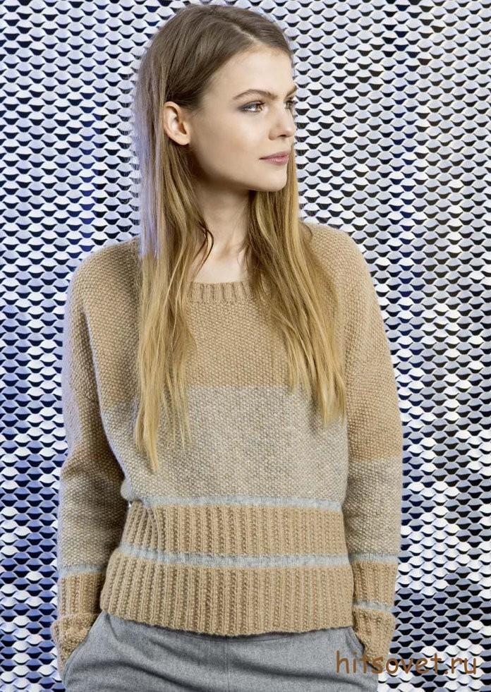 Пуловер женский вязаный спицами с описанием, фото 1.