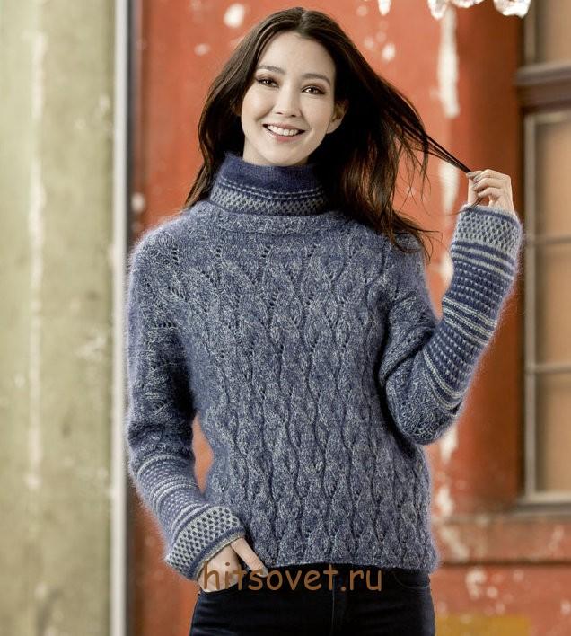 Пуловер женский 2015 с описанием, фото 1.