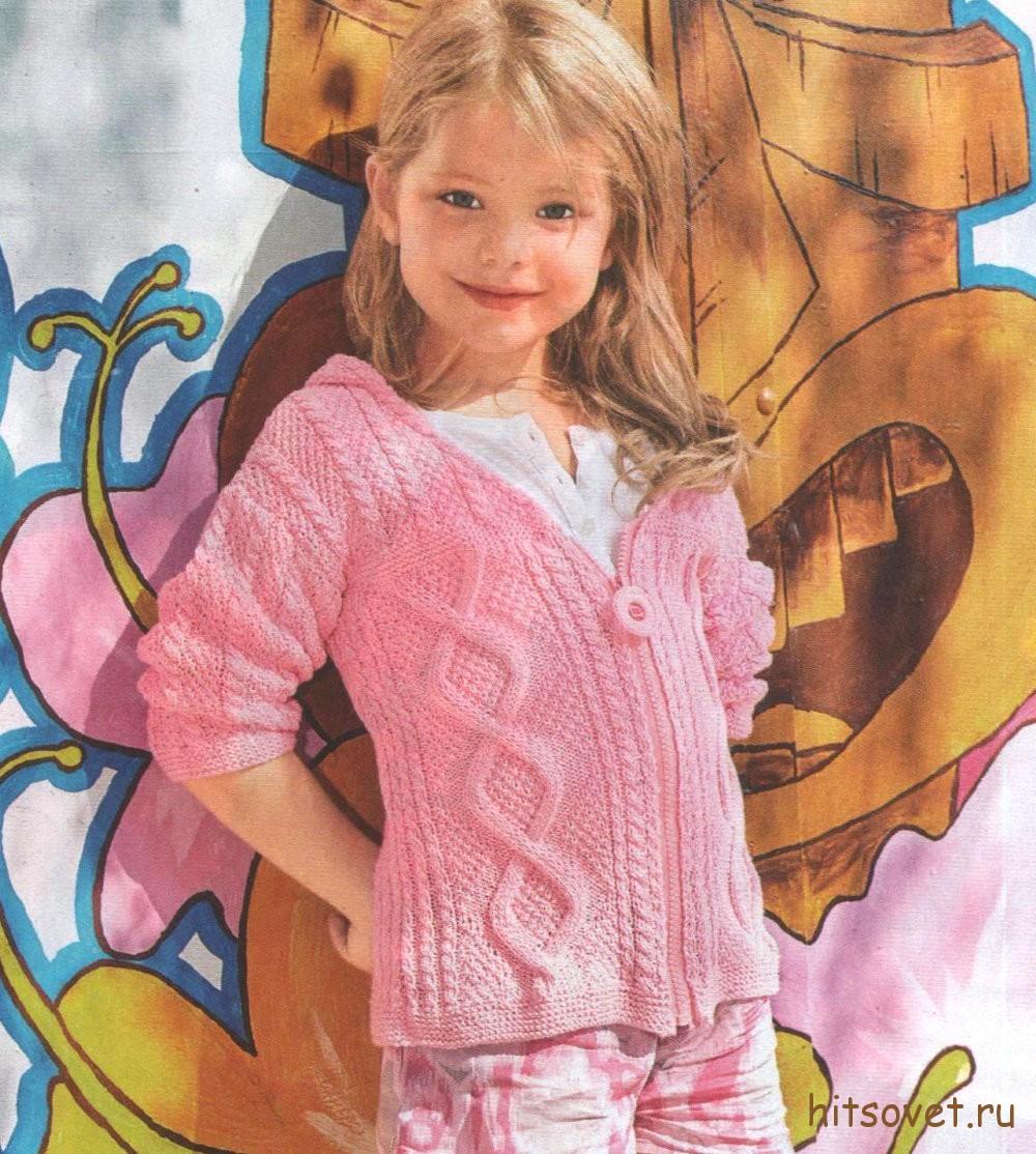 Розовый жакет спицами для девочки