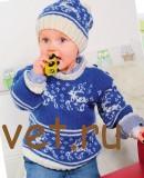 Вязание для детей шапки и пуловера с оленями