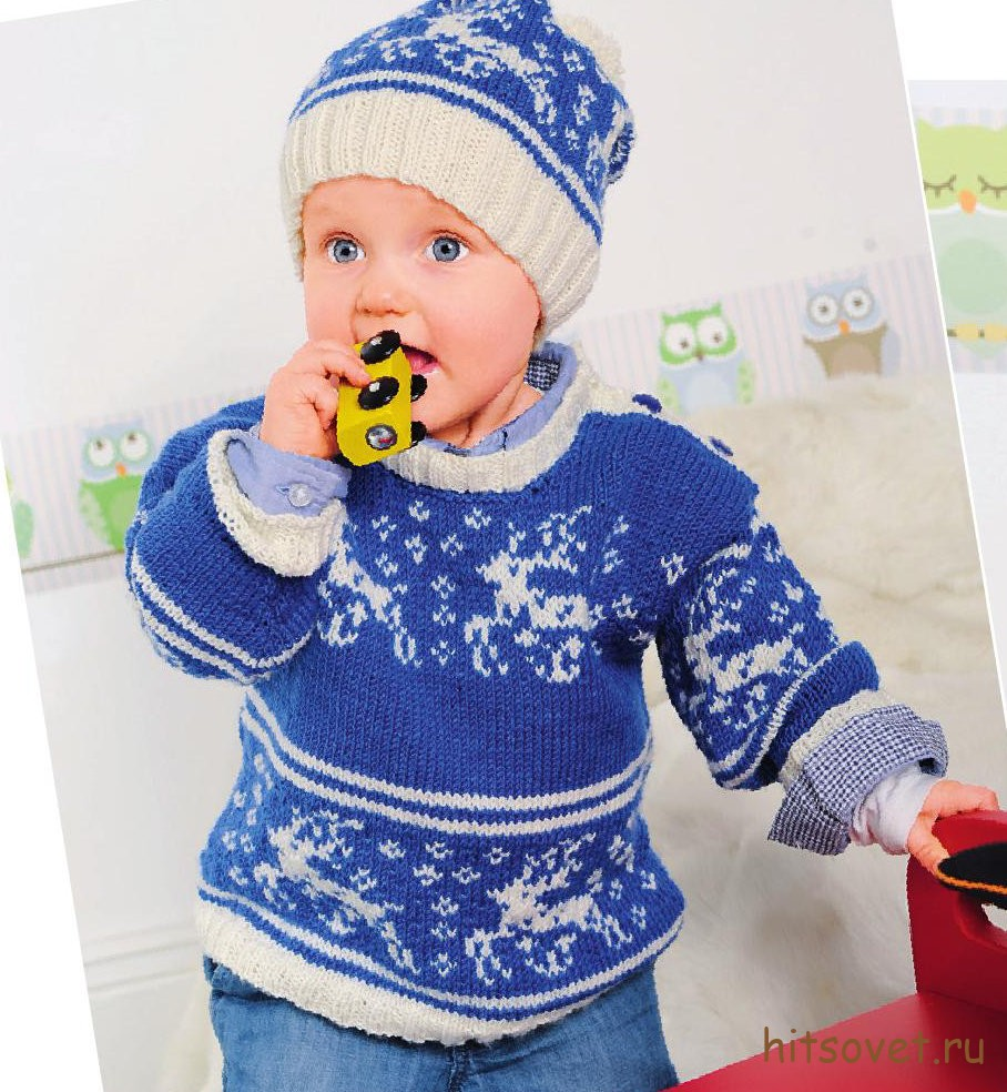 Вязание для детей шапки и пуловера с оленями, фото 1.