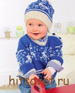 Вязание для детей шапки и пуловера с оленями, фото 2.