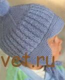 Шапка шлем для мальчика спицами