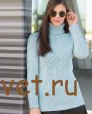 Голубой свитер женский спицами