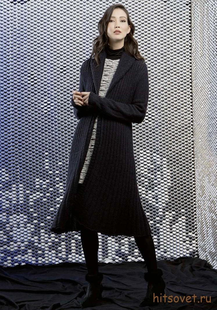 Вязаное пальто спицами 2015 с описанием