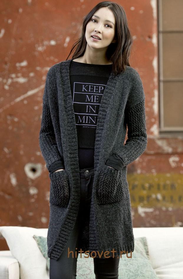 Вязаное пальто спицами 2015, фото 1.