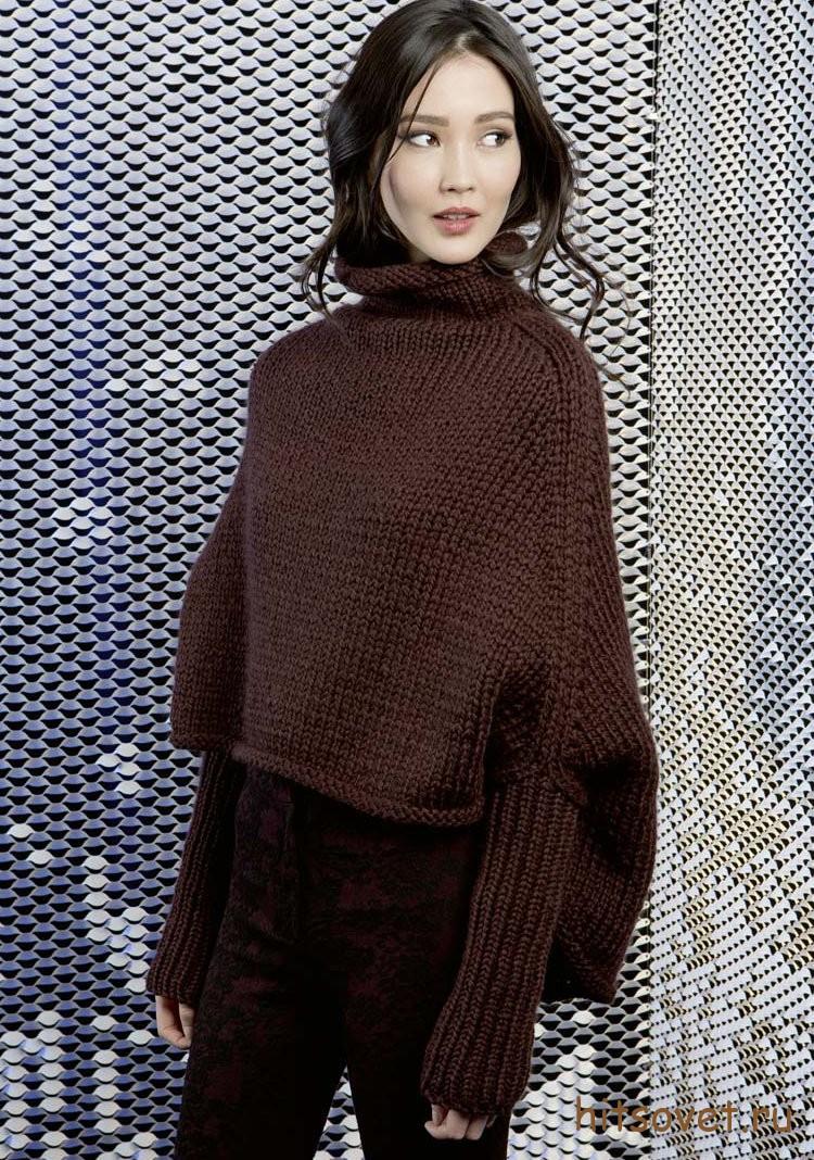 Вязаное пончо с рукавами, фото 1.