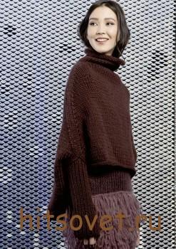 Вязаное пончо с рукавами, фото 2.