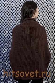 Вязаное пончо с рукавами, фото 3.