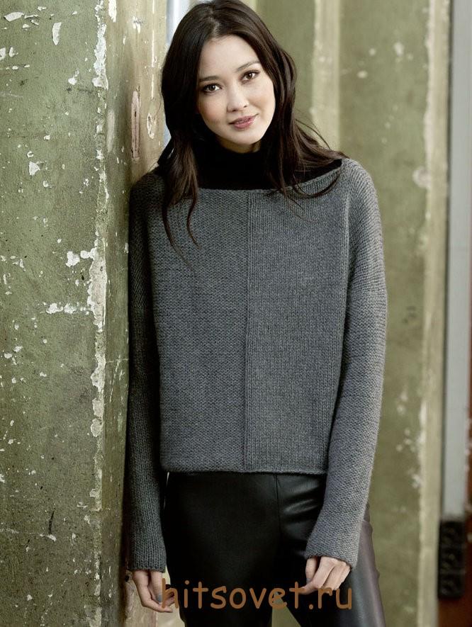 Вязаный пуловер для женщин серого цвета, фото 1.