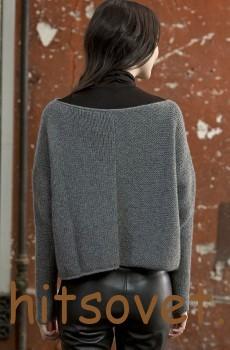 Вязаный пуловер для женщин серого цвета, фото 2.