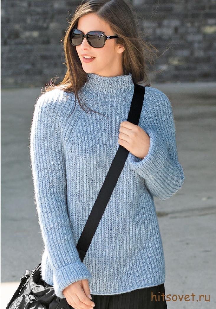 Вязаный пуловер женский реглан