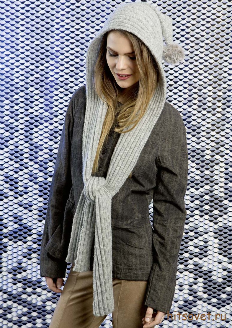 Вязаный шарф с капюшоном спицами