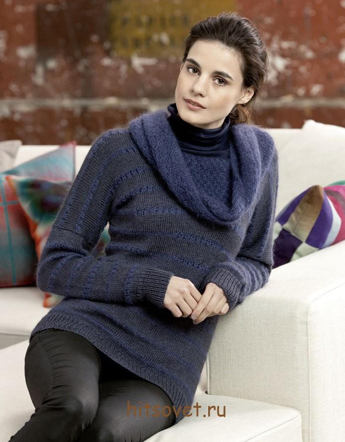 Модный пуловер спицами с описанием и схемами
