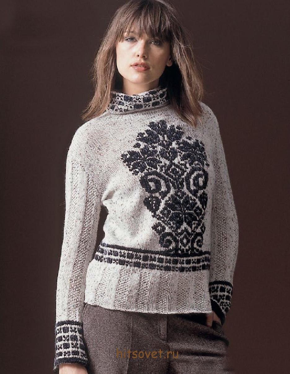 Пуловер с жаккардовыми мотивами
