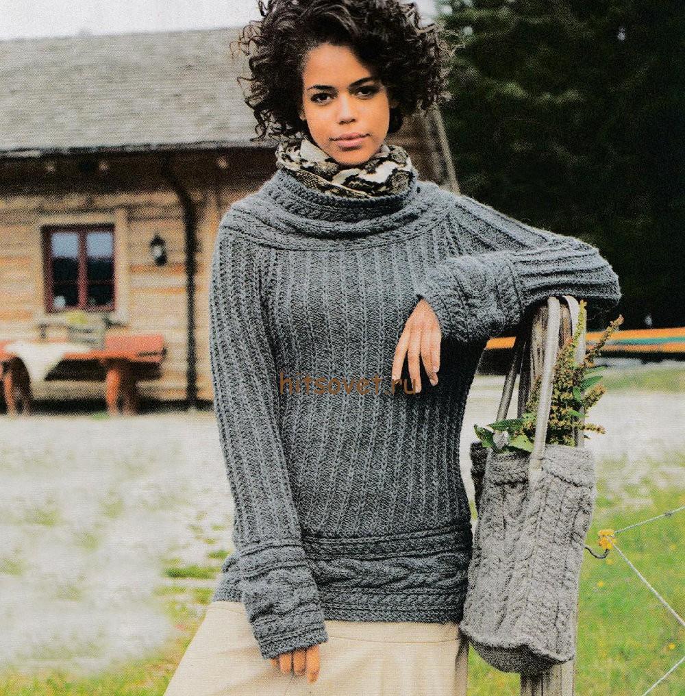 Пуловер женский спицами описание и схемы