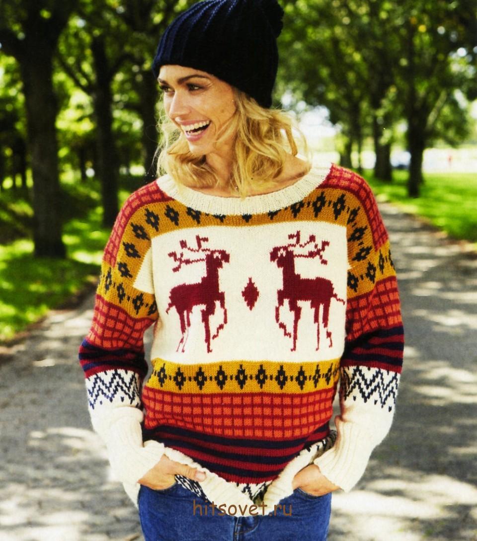 схема вязания пуловеров с оленями