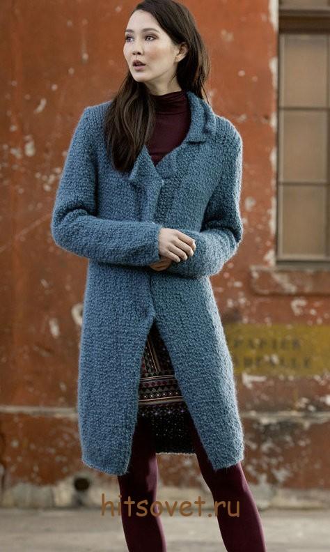 Вязаное пальто спицами с описанием, фото 1.