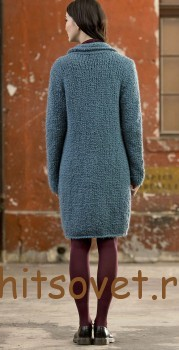 Вязаное пальто спицами с описанием, фото 2.