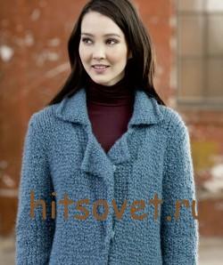Вязаное пальто спицами с описанием, фото 3.