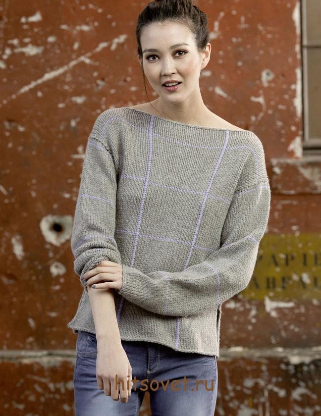 Вязаный пуловер женский 2015 с описанием, фото 1.