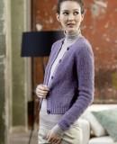Вязаный жакет женский сиреневого цвета, фото 1.