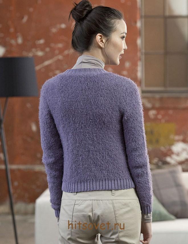 Вязаный жакет женский сиреневого цвета, фото 2.