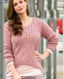 Вязаный женский пуловер для полных