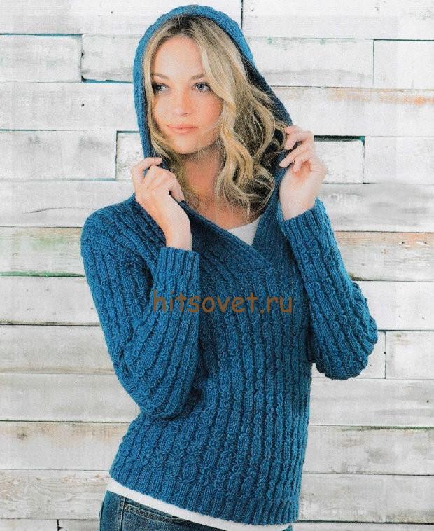 Джемпер с капюшоном вязание, фото 1.