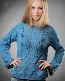 Пуловер с ажурным узором, фото 1.