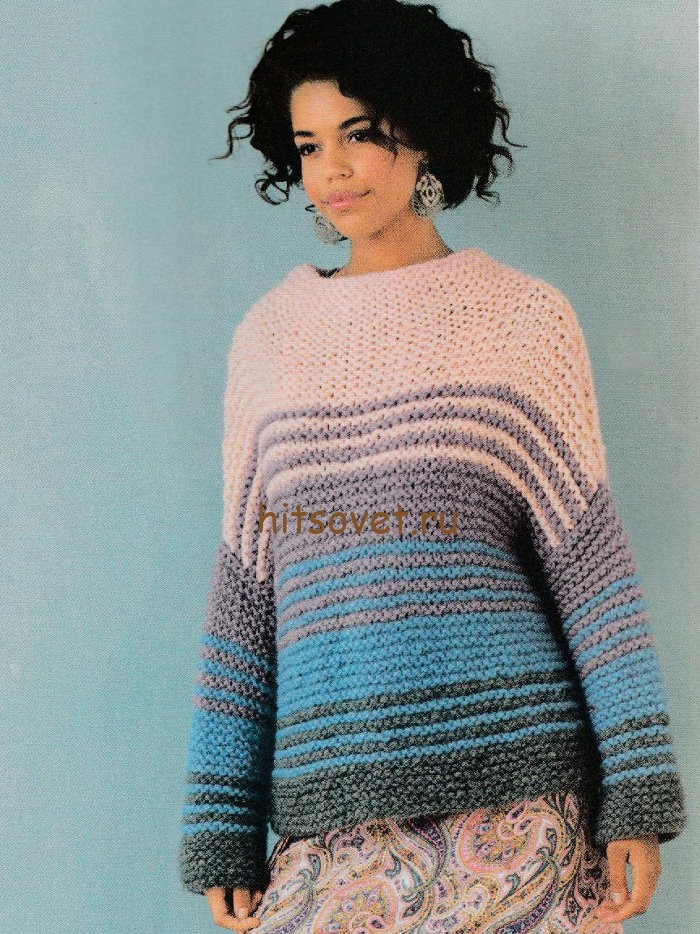 Пуловер из толстой пряжи спицами