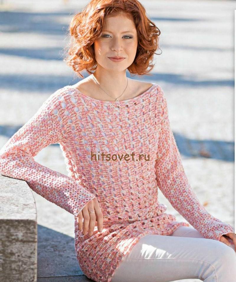Пуловер сетка крючком, фото.