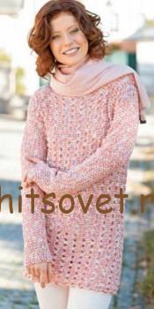 Пуловер сетка крючком, фото 2.