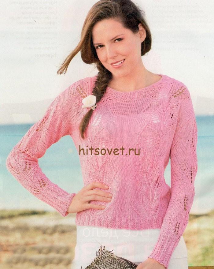 Пуловер с листьями спицами, фото.