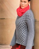 Пуловер с узором соты, фото 1.