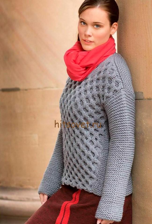 Пуловер с узором соты