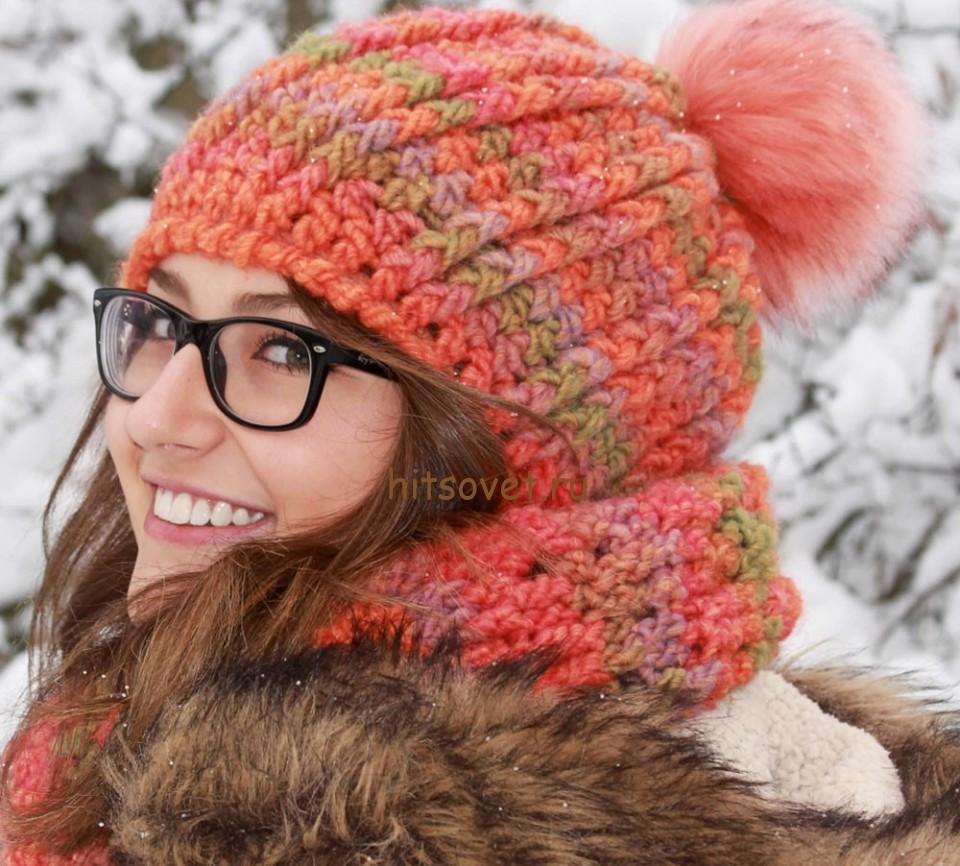 Вязание крючком шапка и шарф, фото 1.